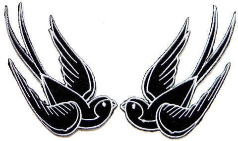 2x SWALLOWS Rockabilly Kitsch Iron On Embroidered Patch