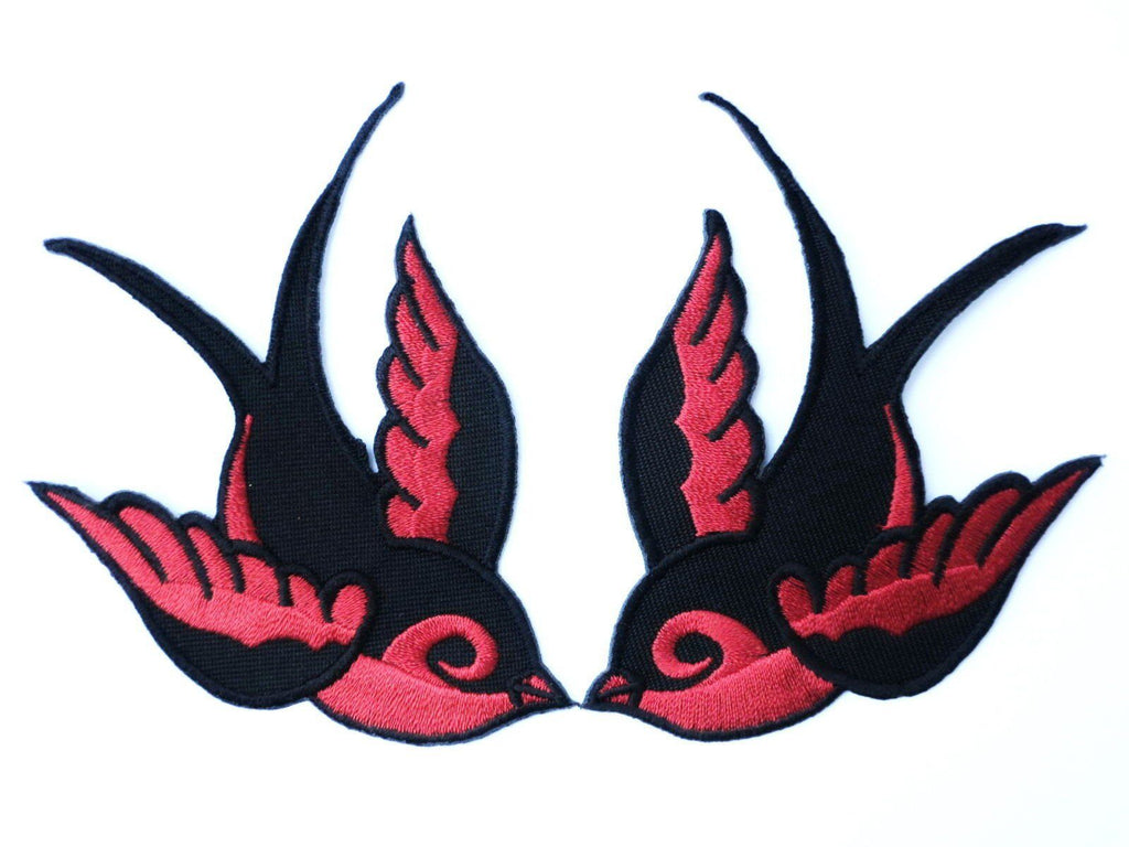 "2x SWALLOWS Rockabilly Biker Tattoo Red Iron On Patch 3.9""/8.7cm - A Patch E Store"