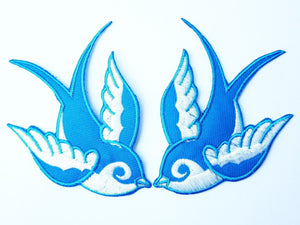 "2x SWALLOWS Rockabilly Biker Blue  Iron On Patch 3.9""/8.7cm - A Patch E Store"