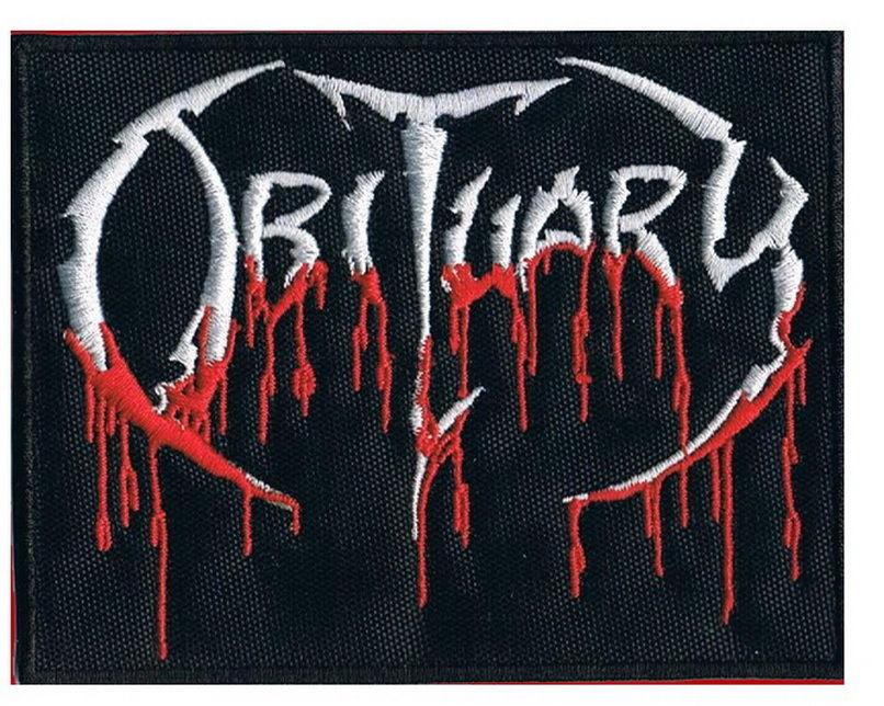 "OBITUARY Drip Logo Iron On Sew On Embroidered Patch 3.4""/8.6cm - A Patch E Store"