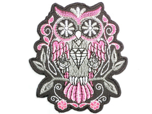 "Pink Sugar Rockabilly Owl Iron On Embroidered Patch 3""/7.8cm - A Patch E Store"