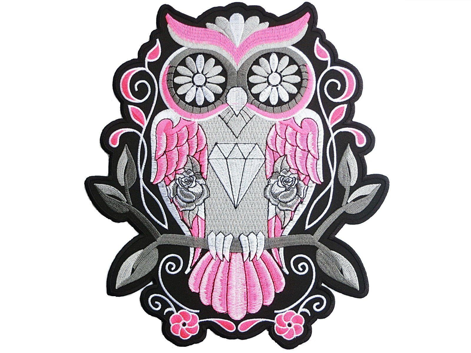 "Pink Sugar Owl Rockabilly Big Embroidered Back Patch 9.6""/24cm - A Patch E Store"
