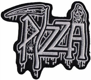"DEATH Pizza Iron On Sew On Embroidered Metal Patch 3.5""/9cm - A Patch E Store"