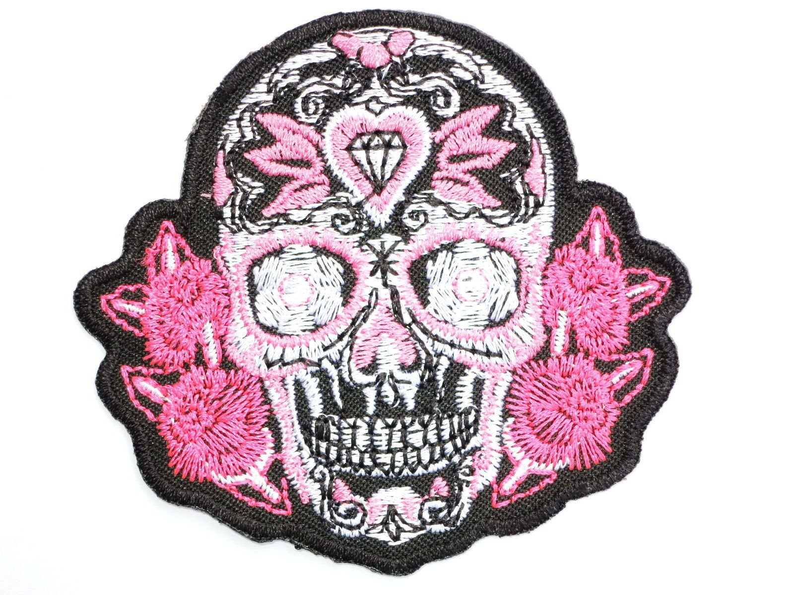 "Pink Sugar Skull Rockabilly  Iron On Embroidered Patch 3.2""/8.2cm - A Patch E Store"