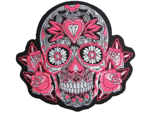 "Pink Sugar Rockabilly Skull Big Embroidered Back Patch 9.5""/24cm - A Patch E Store"
