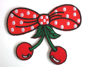 "Polka Dot Bow Cherries Cherry Iron On Embroidered Patch 3.1""/8cm - A Patch E Store"