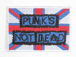 "PUNKS NOT DEAD Anarchy Flag Iron on Embroidered Patch 3.1""/8.2cm - A Patch E Store"
