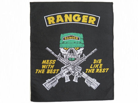 "MESS WITH THE BEST Ranger Skull Big Woven Back Patch 9.4""/24cm"