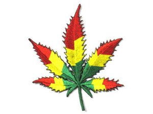 "Rasta Leaf Cannabis Hemp Weed Iron On Embroidered Patch 3.5""/9.5cm - A Patch E Store"