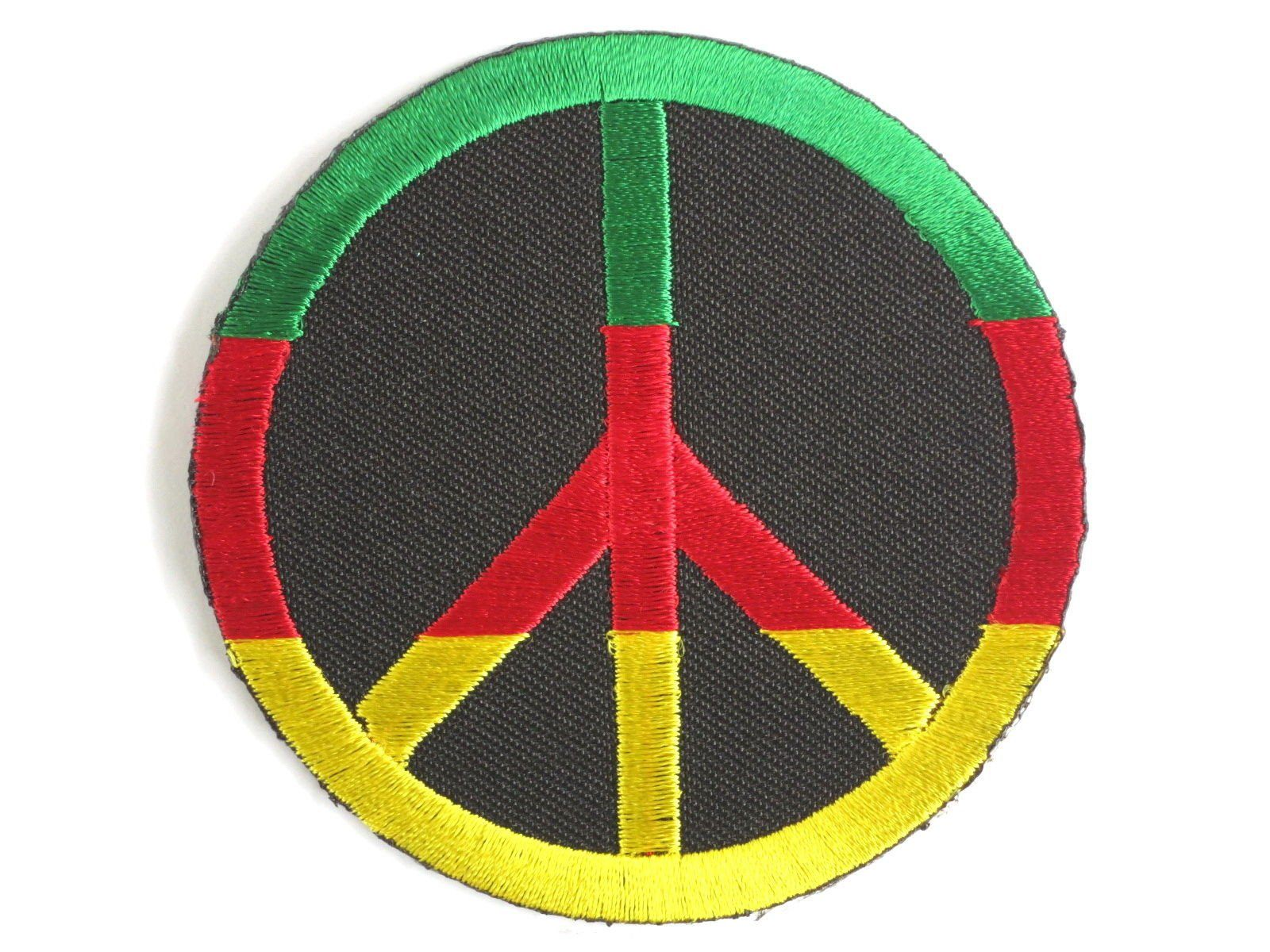 "Rasta Peace Sign CND Hippy Iron Sew On Embroider Patch 2.9""/7.5cm - A Patch E Store"