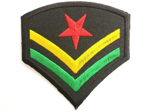 "Rasta Star Cprl Stripes Jah Army Embroidered Patch 3""/7.5m - A Patch E Store"