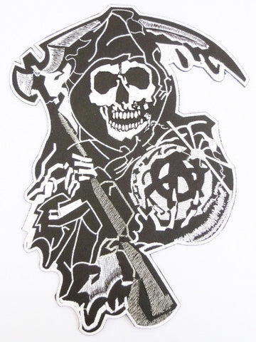 "1%er Reaper Anarchy Outlaw MC Motorcycle Iron On Patch 3.7""/9.5"