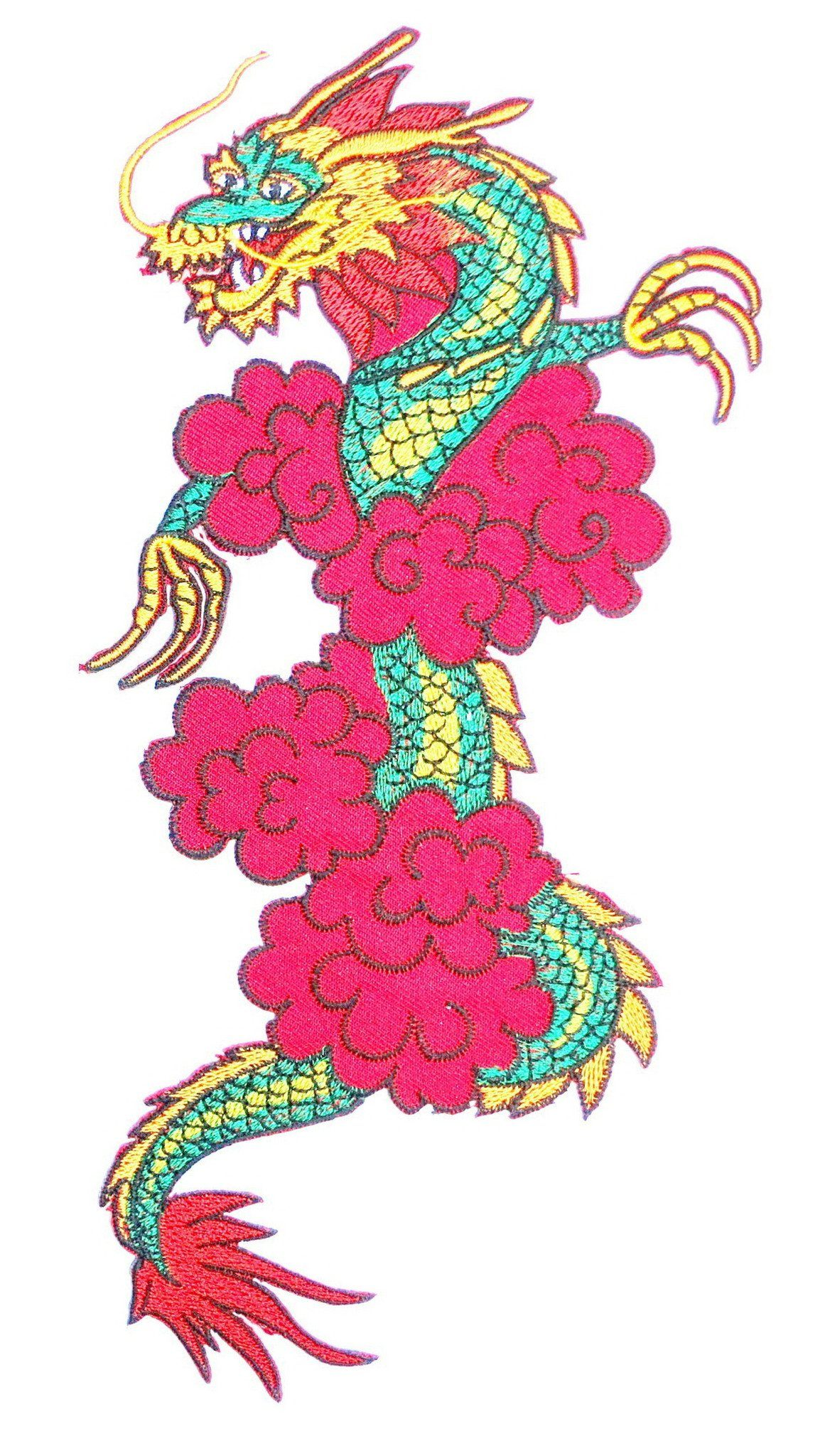 "Chinese Asian Red Dragon Big XL Embroidered Back Patch 10""/25m - A Patch E Store"