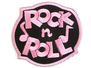 "ROCK N ROLL Pink Rockabilly Iron On Embroidered Patch 2.9""/7.4cm - A Patch E Store"