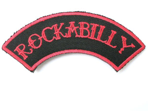 "ROCKABILLY Red Logo Iron On Sew On Embroidered Patch 4""/10cm - A Patch E Store"