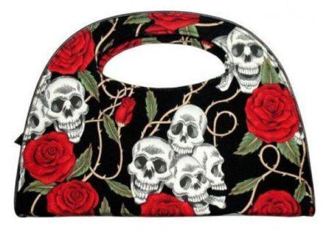 Skull Roses Tattoo Rockabilly Goth Ladies Black Handbag Clutch Bag