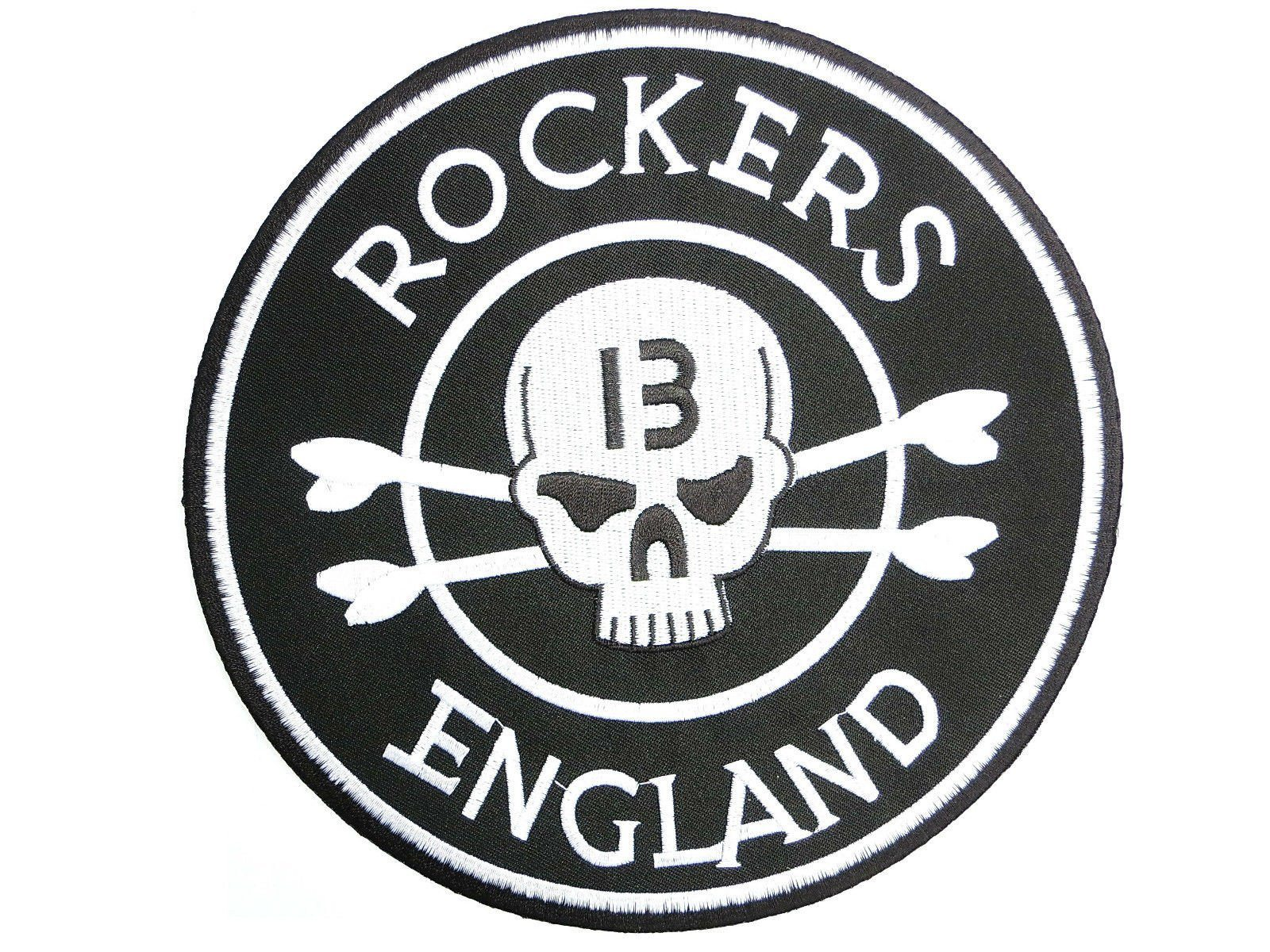 "ROCKERS ENGLAND 13 Skull Embroidered Big Back Patch 8""/20cm - A Patch E Store"