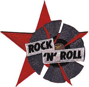 "ROCK N ROLL Record Star Iron On Embroidered Patch 3.5""/9cm - A Patch E Store"