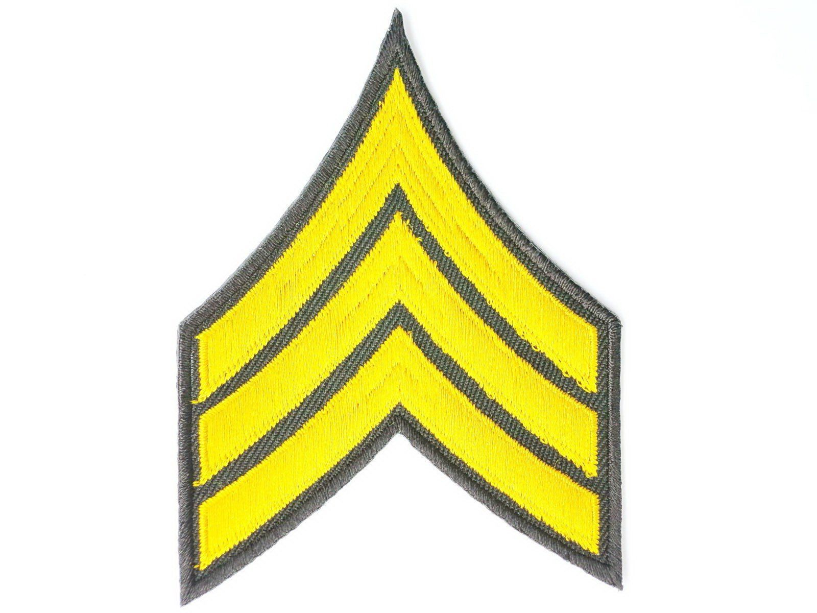 "Sgt Sergeant Golden Stripes Iron On Embroidered Patch 4""/10cm - A Patch E Store"