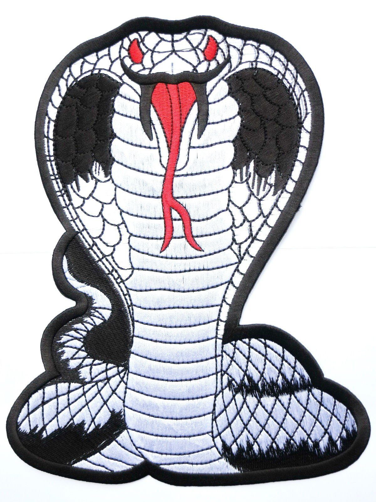 "COBRA Silver Snake Biker Big Embroidered Back Patch 9.6""/24cm - A Patch E Store"