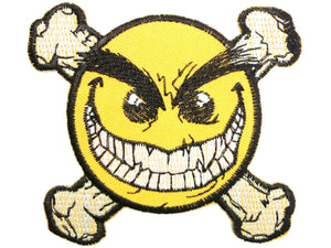 "Smiley Skull Bones Acid Dance Iron On Embroidered Patch 3""/8cm - A Patch E Store"