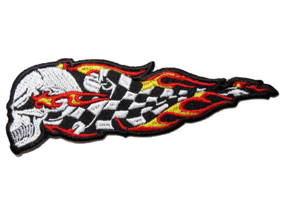 "Checkered Hells Flag Skull Rockabilly Embroidered Patch 4.7""/12cm - A Patch E Store"
