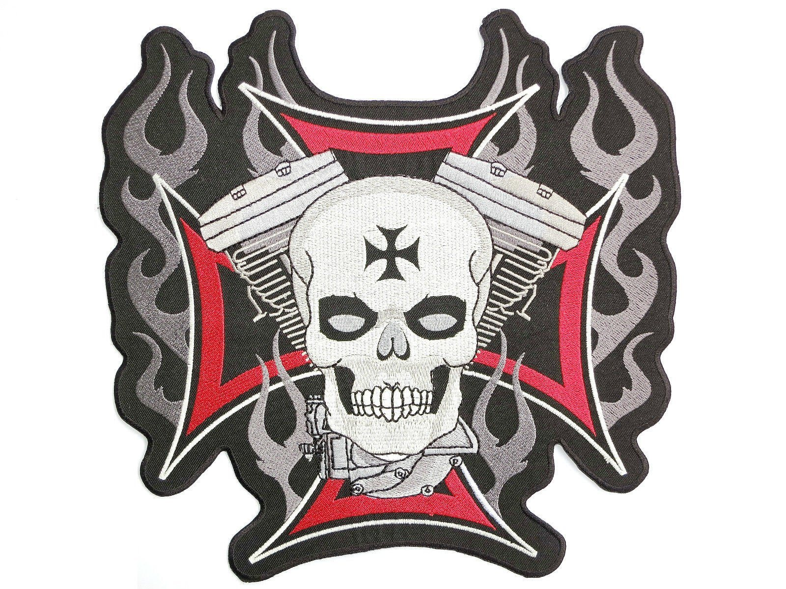 "Maltese Skull Cross Biker Embroidered Big Back Patch 9.5""/24.5cm - A Patch E Store"