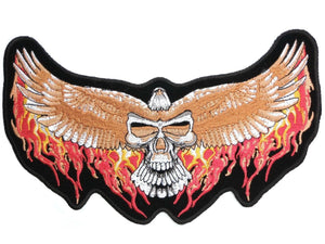 "Flaming Eagle Skull Wings Big Embroidered Back Patch 10""/25cm - A Patch E Store"