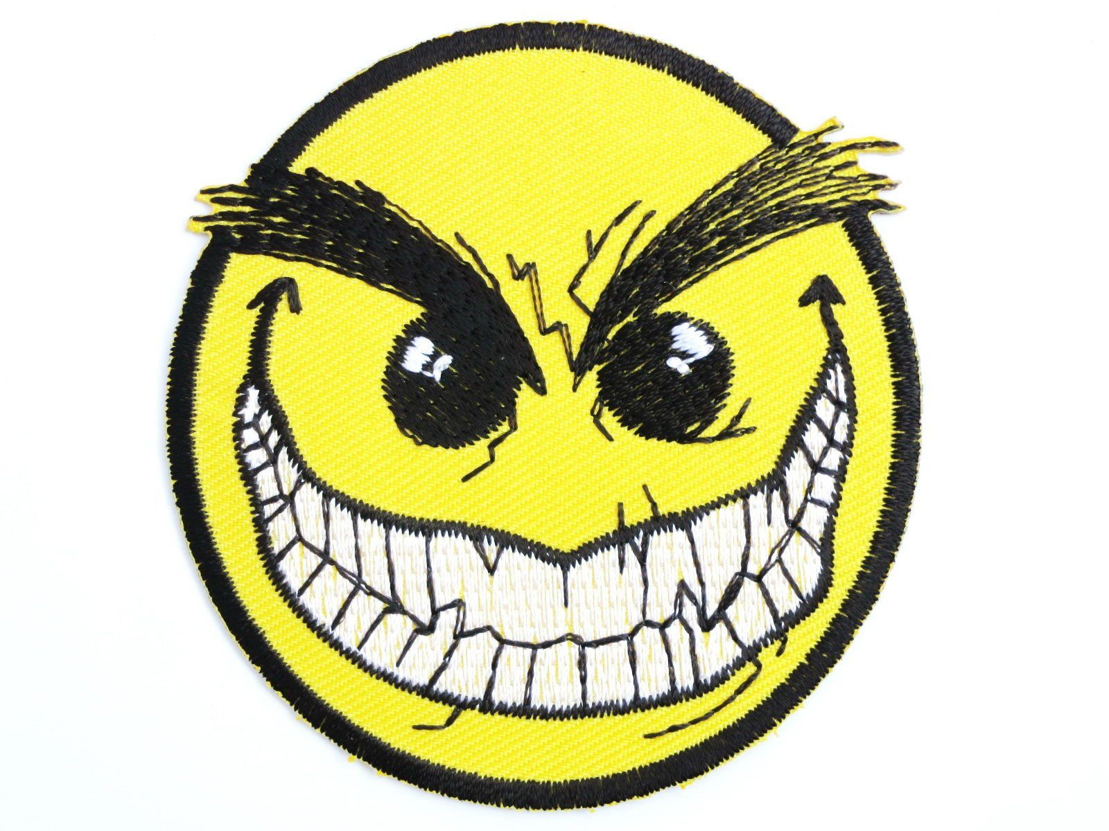 "Smiley Vampire Face Acid Rave Iron On Embroidered Patch 3""/7.6cm - A Patch E Store"