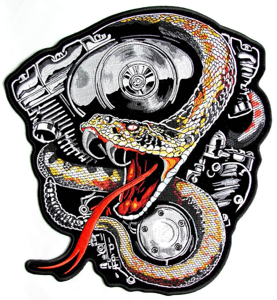 "Rattle Snake Motorcycle V Twin Big Back Patch 9.6""/24.4cm - A Patch E Store"