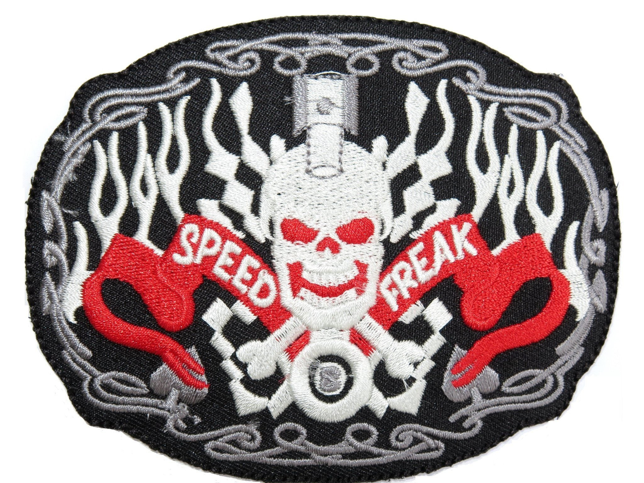 SPEED FREAK Piston Head Skull Sew Iron On Embroidered Jacket Patch - A Patch E Store