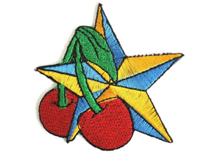 "Cherry Nautical Star Rockabilly Embroidered Patch 3.1""/8cm - A Patch E Store"