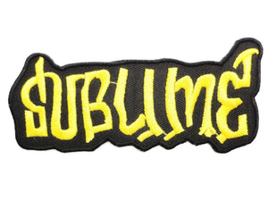 "SUBLIME Gold Logo Iron On SKA Punk Embroidered Patch 4.1""/10cm - A Patch E Store"