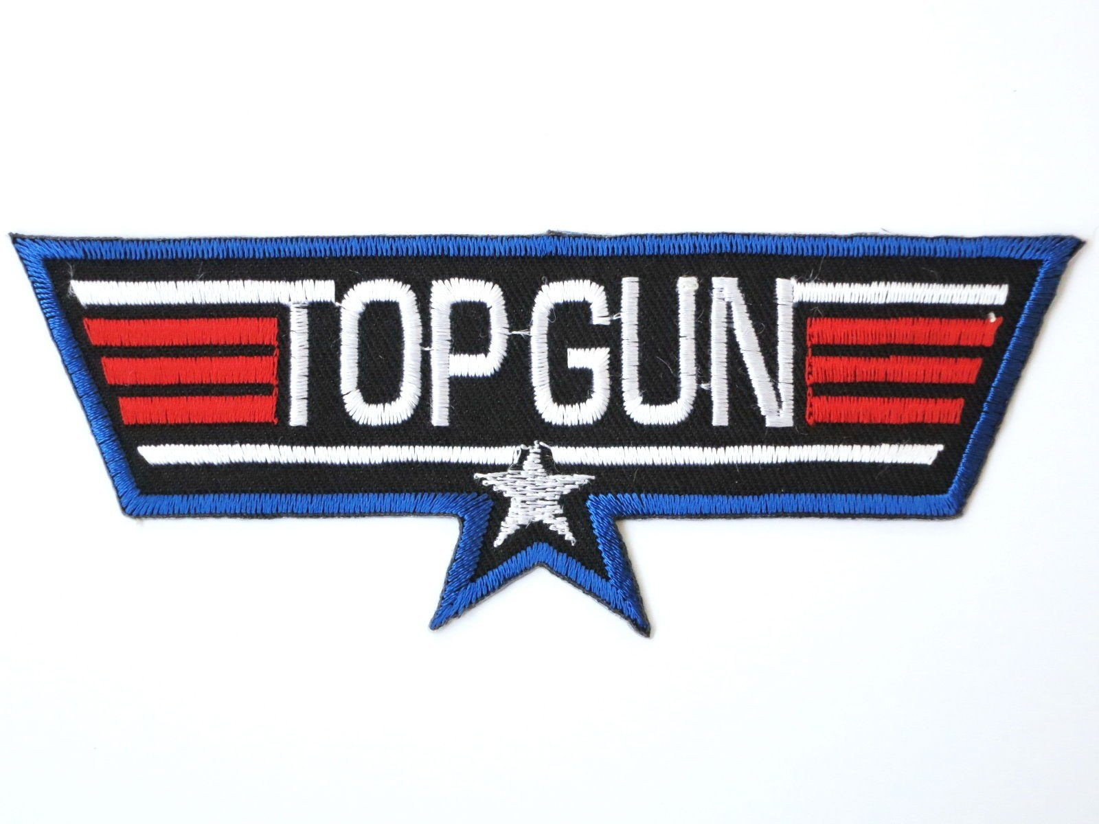 "TOP GUN Fighter Pilot Iron On Embroidered Patch 4.9""/12.5cm - A Patch E Store"