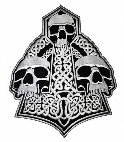"Thor Skull Hammer Viking Mjölnir Big Embroider Back Patch 10.8""/27cm - A Patch E Store"