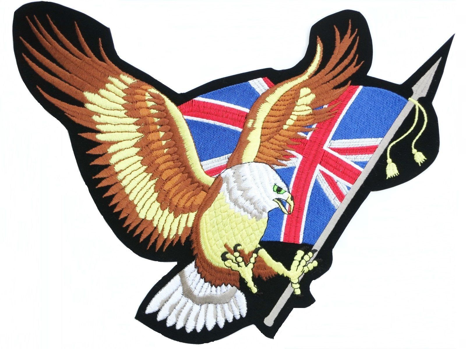 "Union Jack Flag Eagle Biker Big Embroidered Back Patch 14""/35.5cm - A Patch E Store"