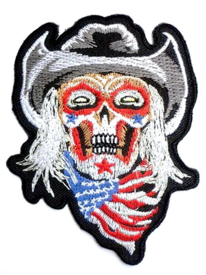 Cowboy USA Flag Skull Biker Zombie Embroidered Iron On Patch - A Patch E Store