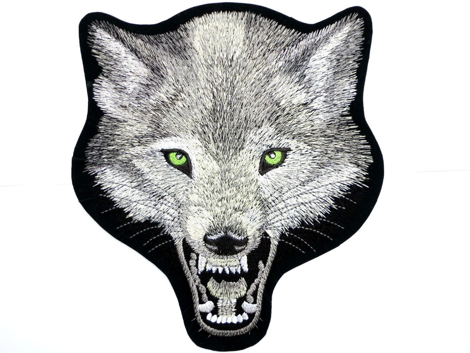 "WOLF Lone Biker Rider Big Embroidered Back Patch 10.5""/26.6cm - A Patch E Store"
