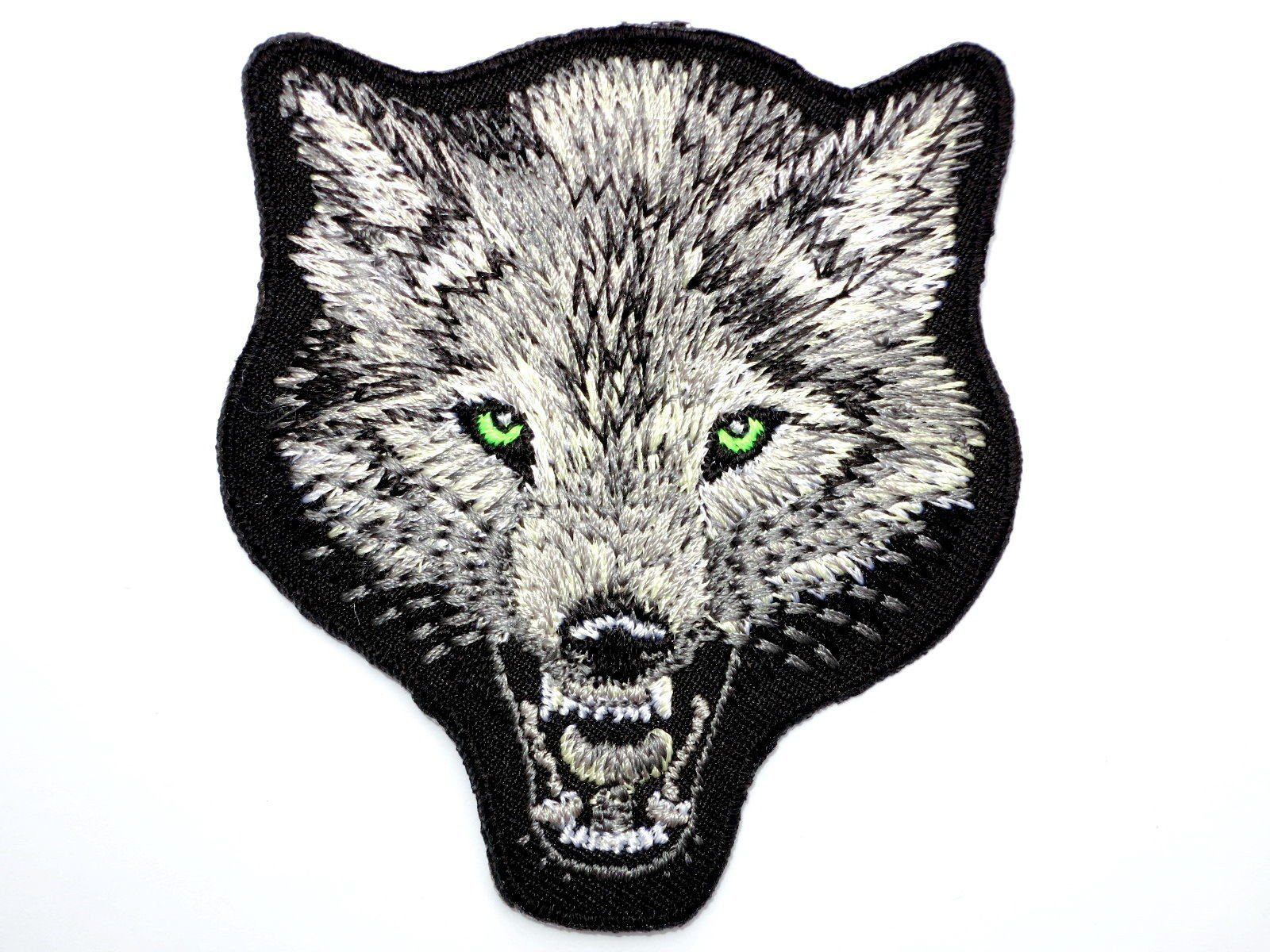 "Lone WOLF Biker Skull Iron On Embroidered Patch 3""/7.5cm - A Patch E Store"