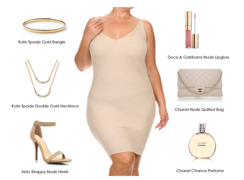 Feel sexy in Plus Size and up to date with this modern minimalist nude look
