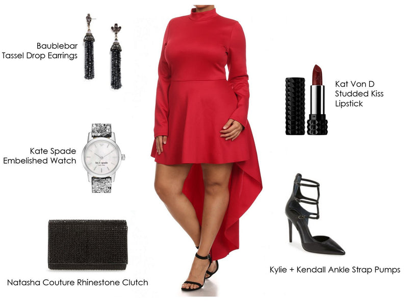 Prep for Valentine's Day in our Dip Hem Plus Size Dress