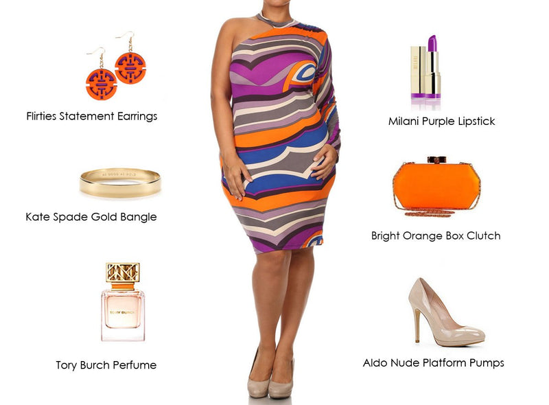 Abstact Off Shoulder Dress with Orange Accents!