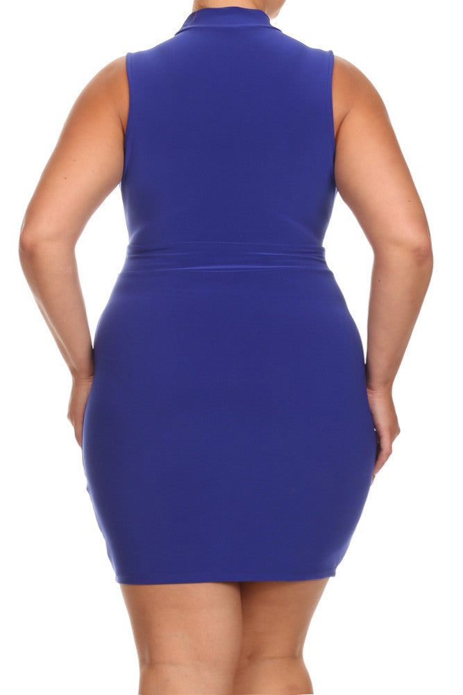 Plus Size Hot Deep Neckline Silver Rings Dress