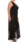 Plus Size Fall For You Sheer Maxi Underlay Black Dress