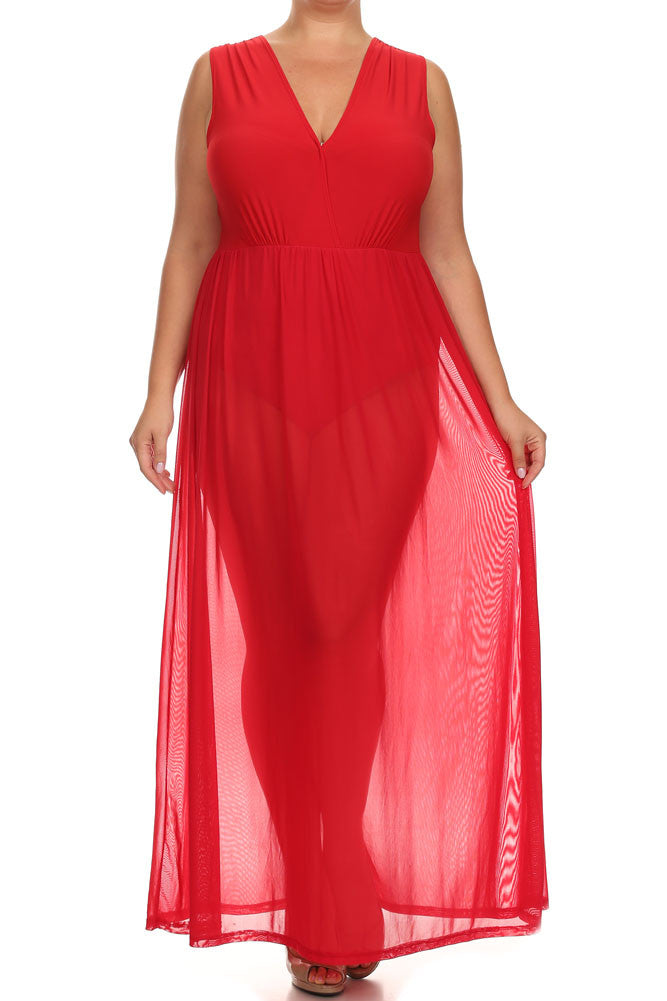 Plus Size Fall For You Sheer Maxi Underlay Red Dress