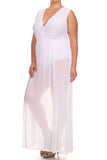Plus Size Fall For You Sheer Maxi Underlay White Dress