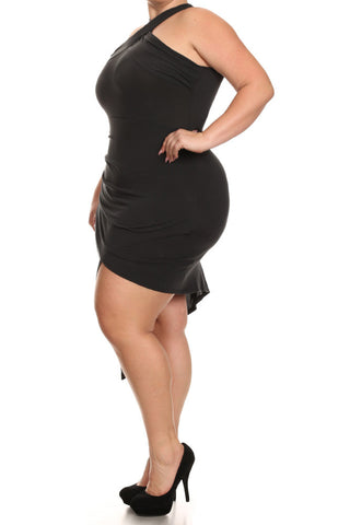 Jagged Hemline Wrapped Neckline Plus Size Dress
