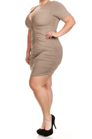 Ruched Short Sleeve Zippered Plus Size Dress