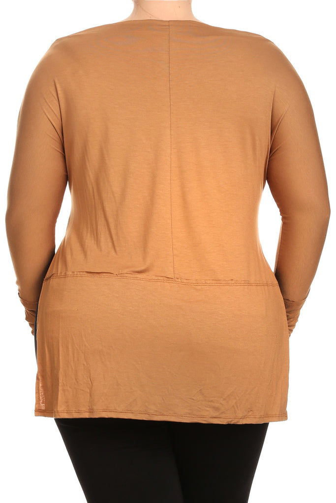 Essential Cowl Neck Side Slits Plus Size Top [SALE]