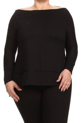 Essential Cowl Neck Side Slits Plus Size Top